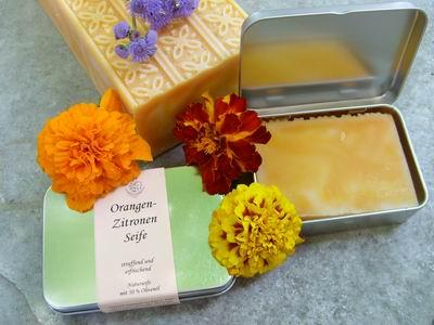 Foto von Geschenkdose OrangeZitronen Seife