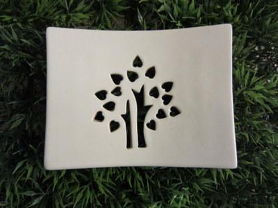 Foto von Seifenschale Keramik weiß (Glücksbaum)