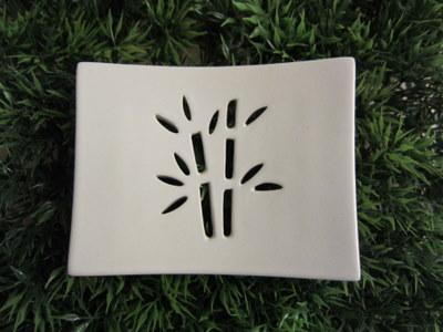 Foto von Seifenschale Keramik weiß (Bambus)