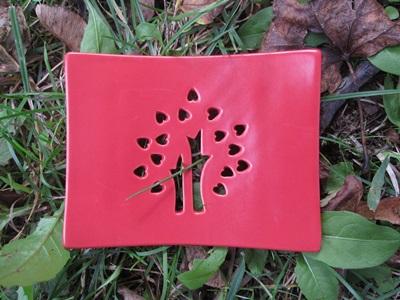 Foto von Seifenschale Keramik rot (Glücksbaum)