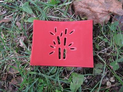 Foto von Seifenschale Keramik rot (Bambus)