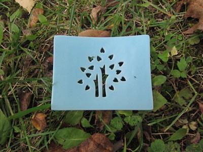 Foto von Seifenschale Keramik blau (Glücksbaum)