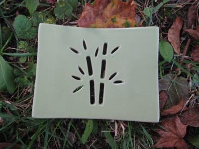 Foto von Seifenschale Keramik grün (Bambus)