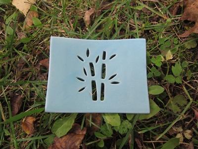 Foto von Seifenschale Keramik blau (Bambus)