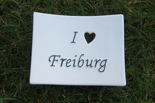 Foto von Seifenschale I Love Freiburg (mit schwarzer Schrift)
